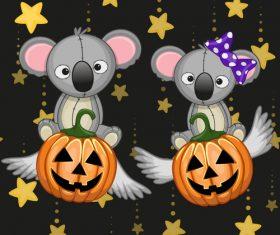 Koala with halloween card vector