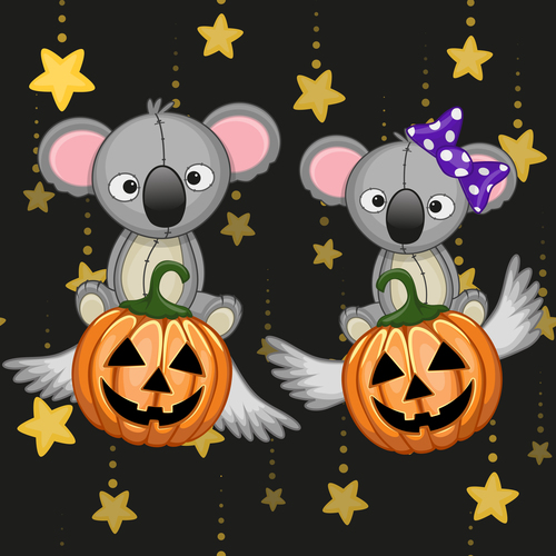 Koala with halloween card vector free download