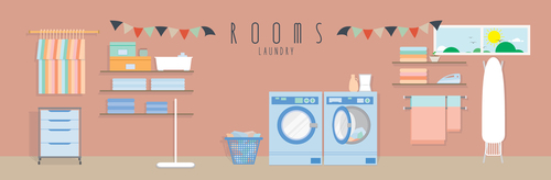 Laundry design vector material