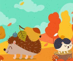 Little hedgehog autumn illustration vector