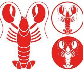 Lobster sticker design vector