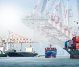 Marine terminal and cargo ship Stock Photo