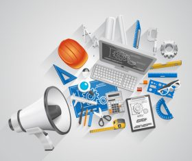 Megaphone with office elements vector 02