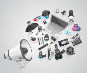 Megaphone with office elements vector 03