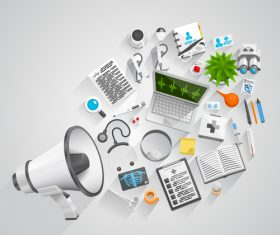 Megaphone with office elements vector 04
