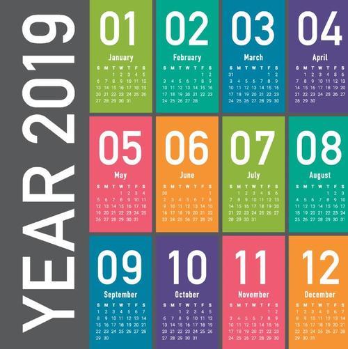 Modern colored 2019 calendar template vector