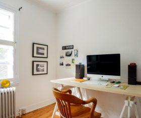 Modern minimalist study computer desk and chair Stock Photo