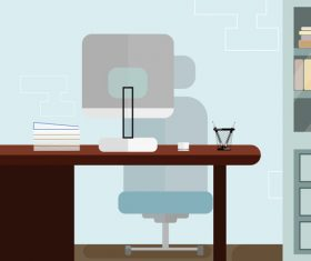 Modern office furnishings vector