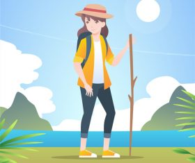 Mountaineering resting girl vector illustration material