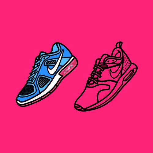 Nike Sneakers Cartoon Illustration Vector Free Download