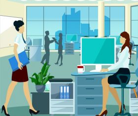 Office busy people working vector