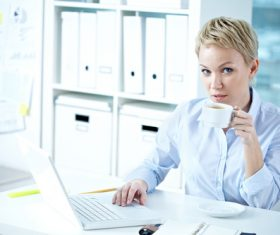 Office ladies drinking coffee work Stock Photo 01
