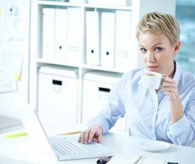 Office ladies drinking coffee work Stock Photo 01