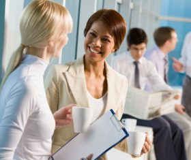 Office ladies drinking coffee work Stock Photo 03