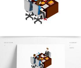 Office scene illustration vector hand drawing