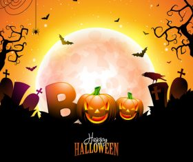 Orange halloween background vectors 01