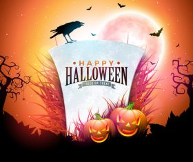 Orange halloween background vectors 02