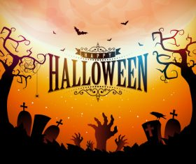 Orange halloween background vectors 03