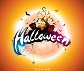 Orange halloween background vectors 04