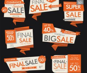 Orange sale banners and labels vector set