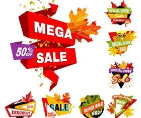 Origami autumn sale labels vectors set