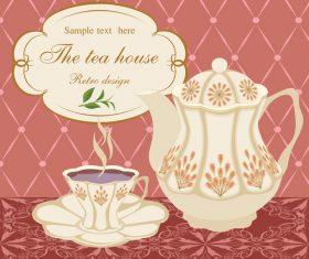 Ornate tea background art vector