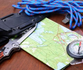 Outdoor survival essential items Stock Photo 01