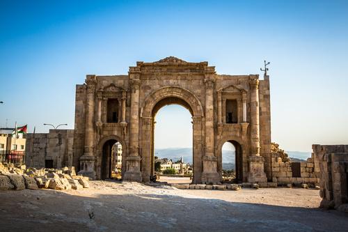 Petra architectural landscape in Jordan Stock Photo 01