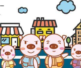 Pig family cartoon illustration vector