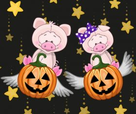 Pig with halloween card vector