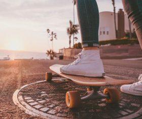 Play skateboarding girl Stock Photo
