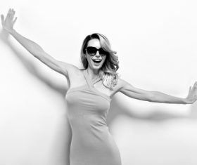Posing woman wearing sunglasses in studio shooting Stock Photo 05
