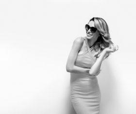 Posing woman wearing sunglasses in studio shooting Stock Photo 06