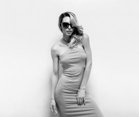 Posing woman wearing sunglasses in studio shooting Stock Photo 07