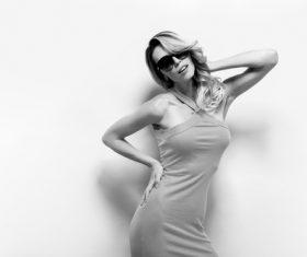 Posing woman wearing sunglasses in studio shooting Stock Photo 08