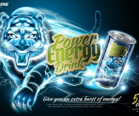 Power energy drink poster template creative vector 01