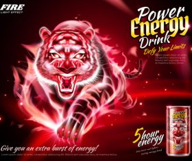 Power energy drink poster template creative vector 02