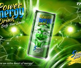 Power energy drink poster template creative vector 03
