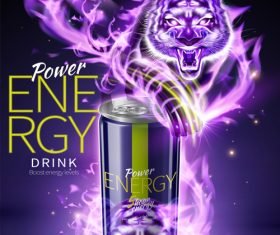 Power energy drink poster template creative vector 04