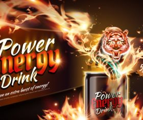 Power energy drink poster template creative vector 05