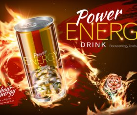 Power energy drink poster template creative vector 06