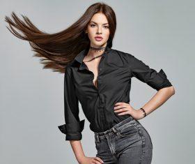 Pretty long straight hair girl Stock Photo 05
