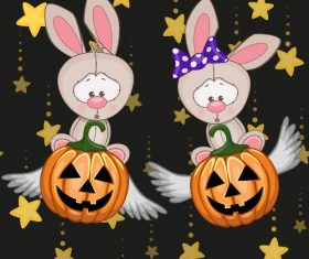 Rabbit and halloween card vector