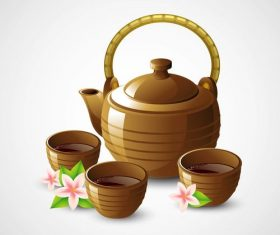 Realistic tea sets and flowers vector