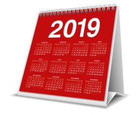 Red 2019 desk calendar template vector 01