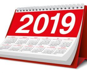 Red 2019 desk calendar template vector 02