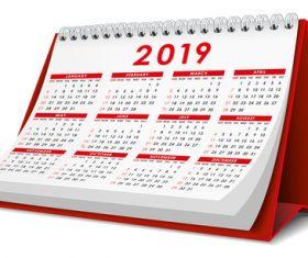 Red 2019 desk calendar template vector 03