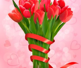 Red flowers and red ribbons vector