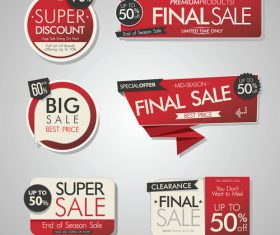 Red sale banners and labels with sticker vector
