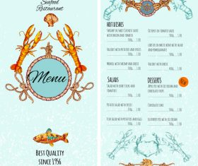 Restaurant seafood menu price list vector